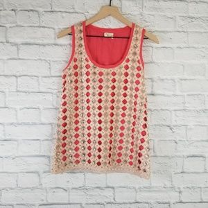Anthropologie Deletta| Tank Top with Shell Overlay
